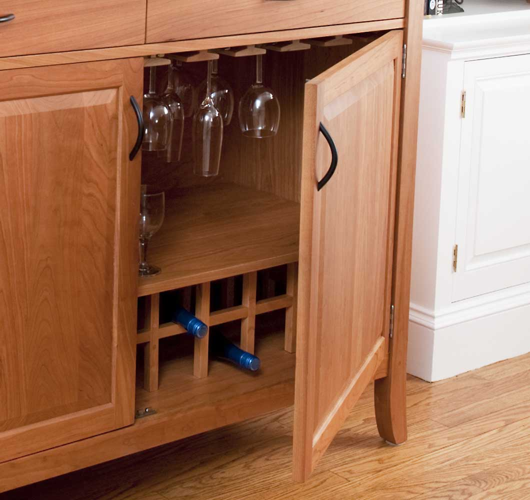 solid wood wine cabinet handcrafted in Vermont