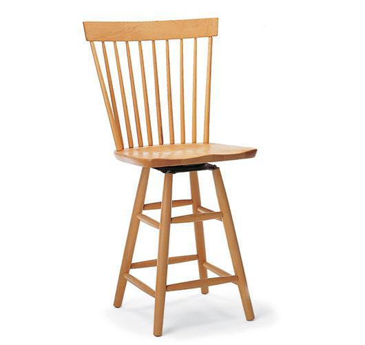 Solid wood swivel barstool handmade in Vermont