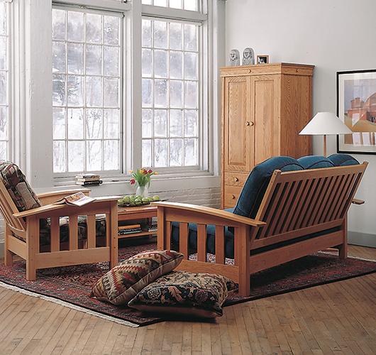 Handmade hardwood upholstered furniturePompanoosuc Mills. Mission Living Room Furniture. Home Design Ideas