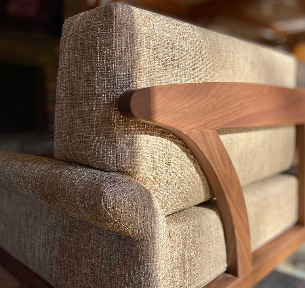 arlington couch in solid walnut