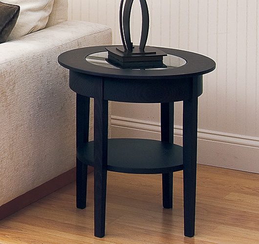 solid wood glass top end table handcrafted in VT
