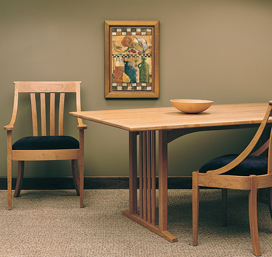 Hardwood dining table handcrafted in Vermont