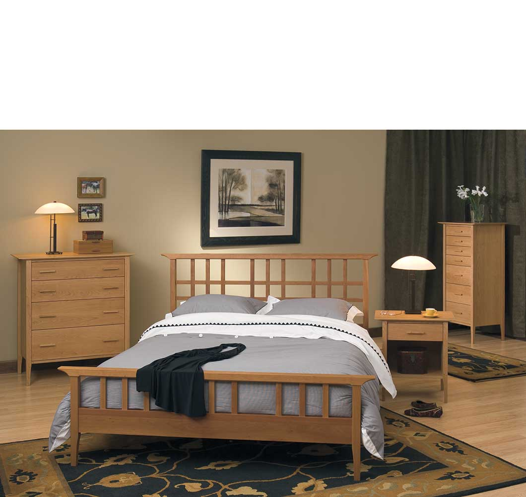gramercy bed in solid cherry