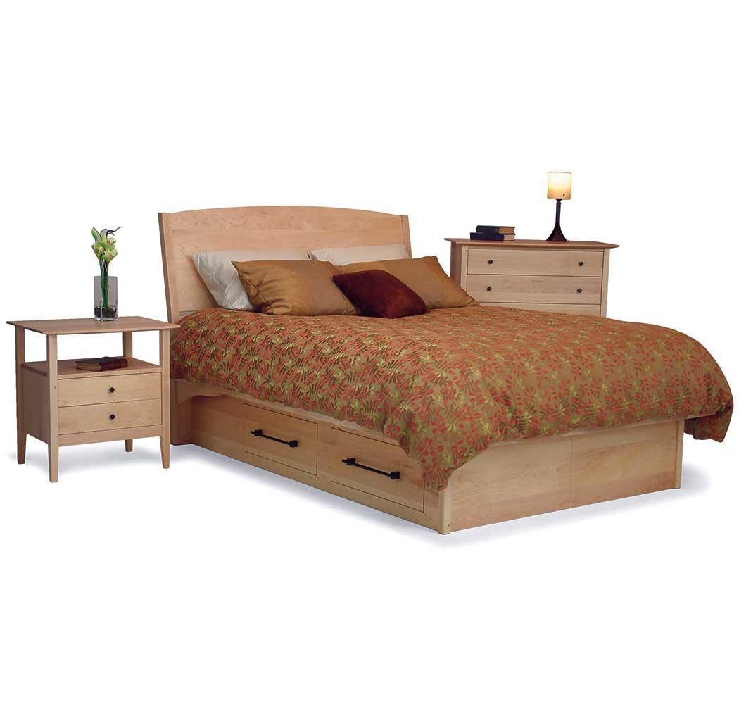 American-made solid wood platform bed with storage