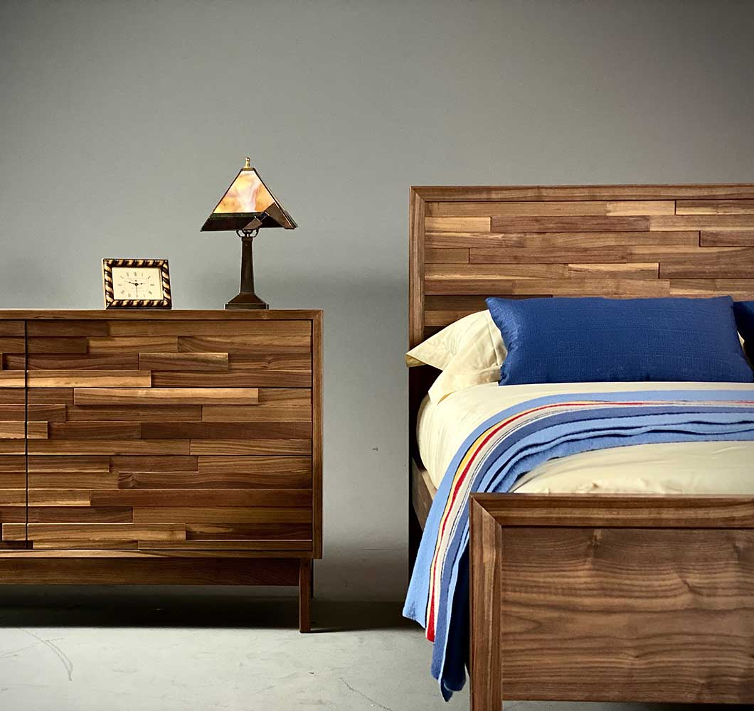 Corinth queen bed in solid walnut