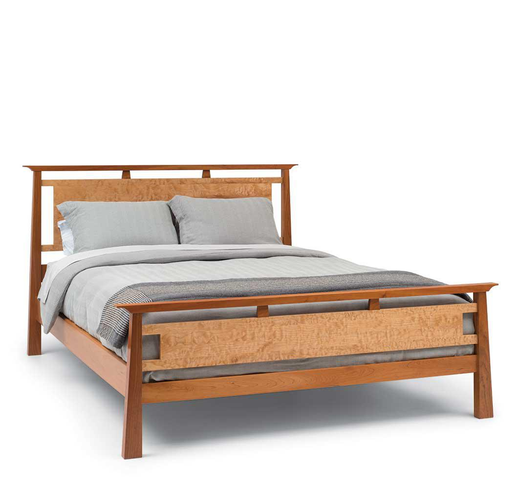 Queen-size Mendon Bed in walnut and quilted maple