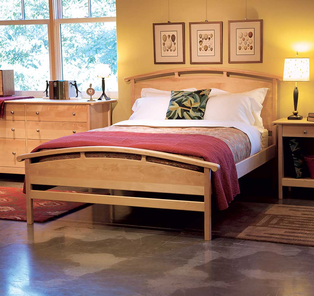Handrcrafted solid wood platform bed