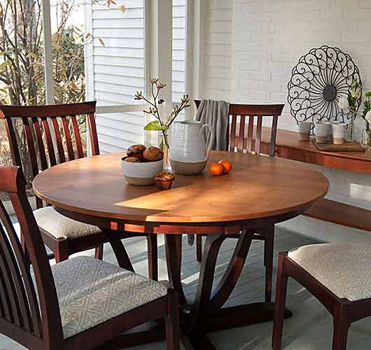 Solid wood dining table handcrafted in Vermont