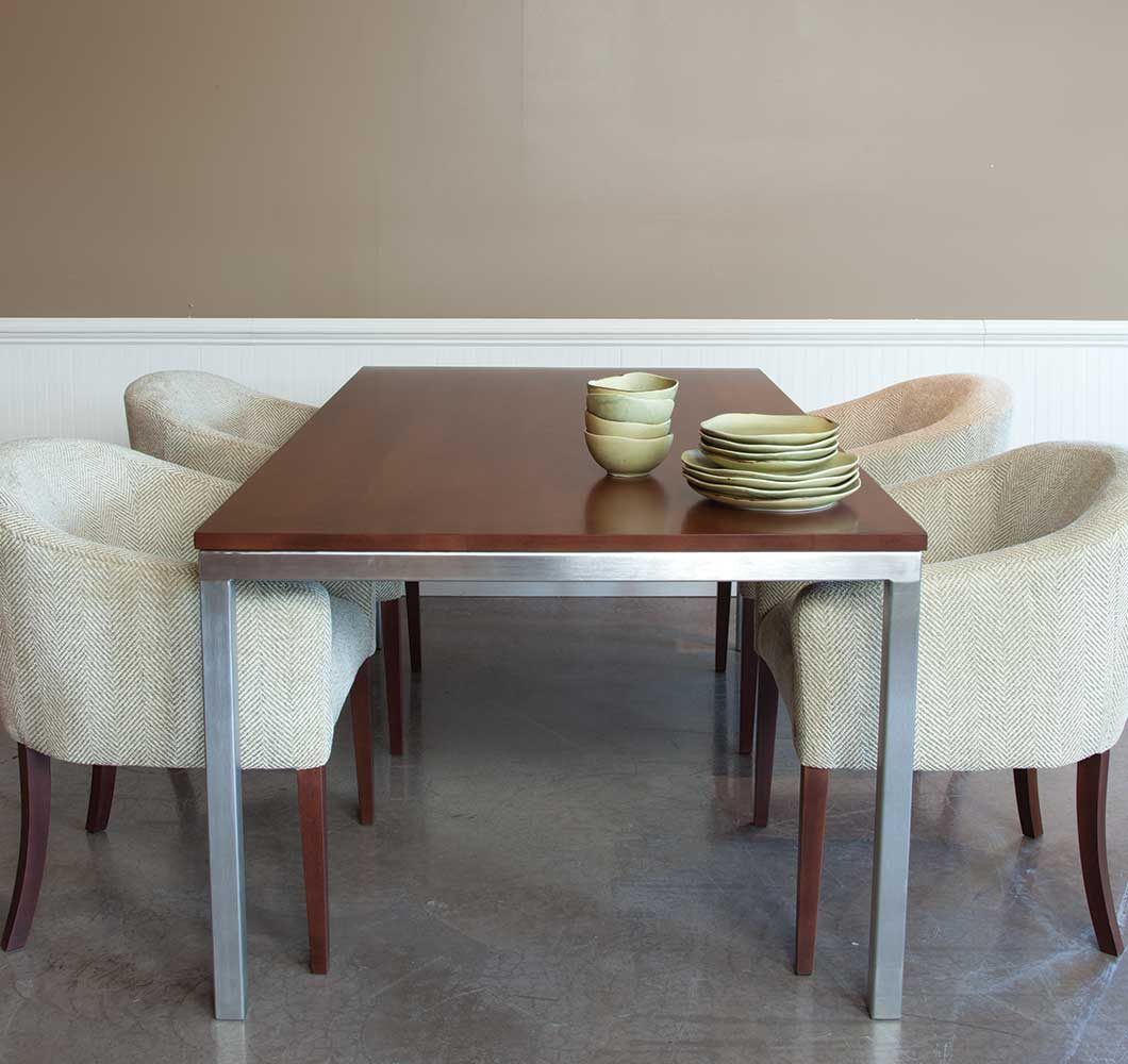 Barnet Stainless Steel Adn Wood Dining Table